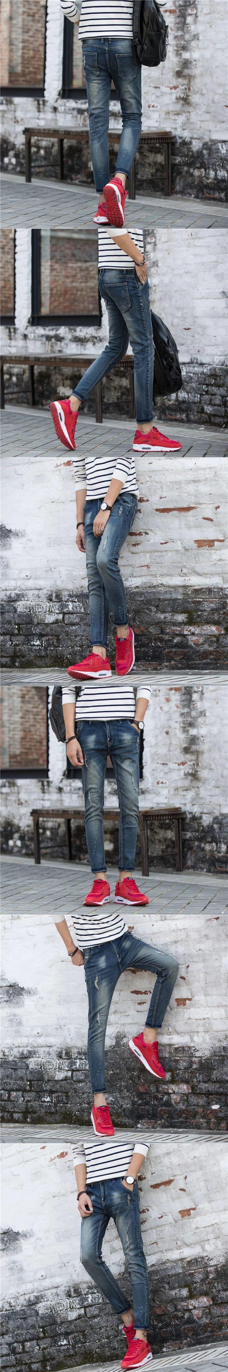 Thin summer retro nine pants men jeans men slim pants men  youth Skinny design top quality WY988