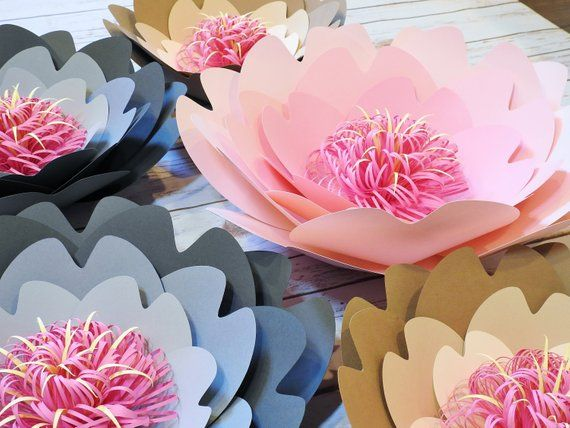 Paper Flower Arrangement Set Of 5 Or 7 Large Paper Flower Wall