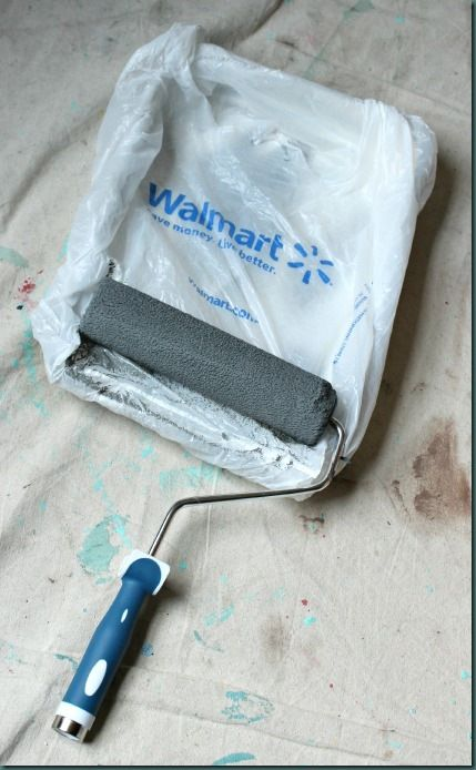 10 Tips for How To Paint a Room - 7.  Cover your paint tray in a Wal-Mart bag so you can reuse the tray again and clean up easily.
