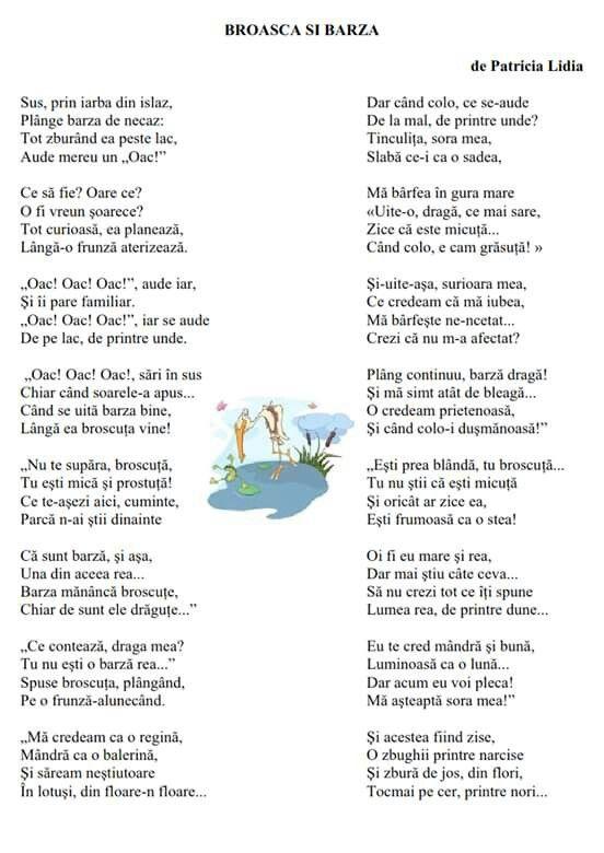 Poezia Broasca și barza
