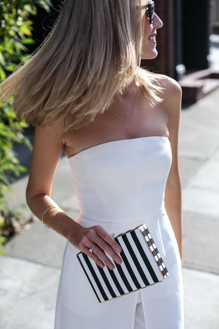 White with a striped clutch