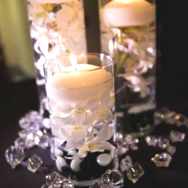 Flowers And Floating Candle Centerpieces With Led Lighting: Wedding Centerpiece Ideas! Dollar Store Cases,pearls,fake
