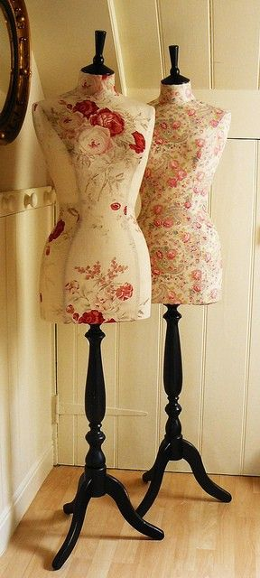 these mannequin frames are so vintage, ditsy looking; i love the new reupholstered fabric on them.