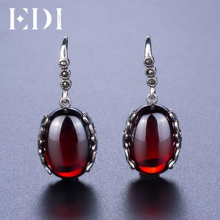 EDI женские желтый халцедон Красный Гранат 925 тайский серебро мотаться серьги Винтаж Pendientes богемный индийских ювелирных украшений