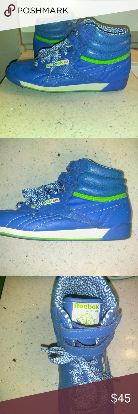 Reebok Classic High Tops Very unique and in excellent condition. Bright blue and lime green and white. Womens size 9.5 Reebok Shoes Sneakers