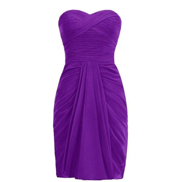 Dresstells Short Bridesmaid Dress Chiffon Sweetheart Homecoming Party... ($50) ❤ liked on Polyvore featuring dresses, short dresses, chiffon cocktail dresses, purple dress, chiffon homecoming dresses and short homecoming dresses
