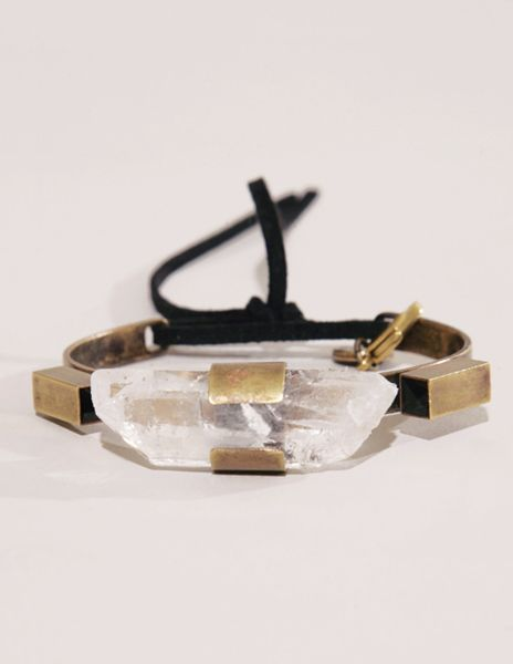 Raw & Natural,  Sylvie Markovina brass cuff with large quartz crystal.