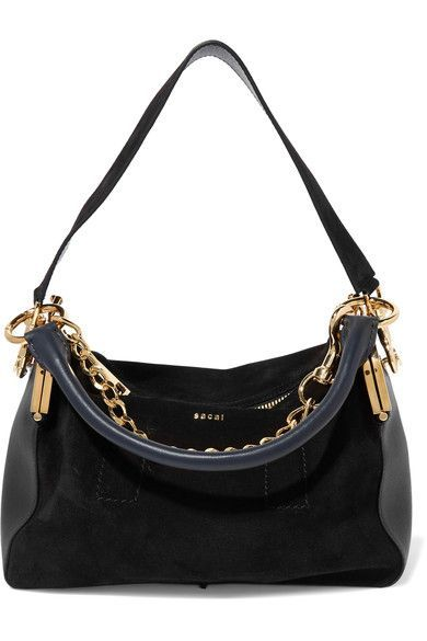 Sacai - Coin Purse Suede And Leather Shoulder Bag - Black - one size