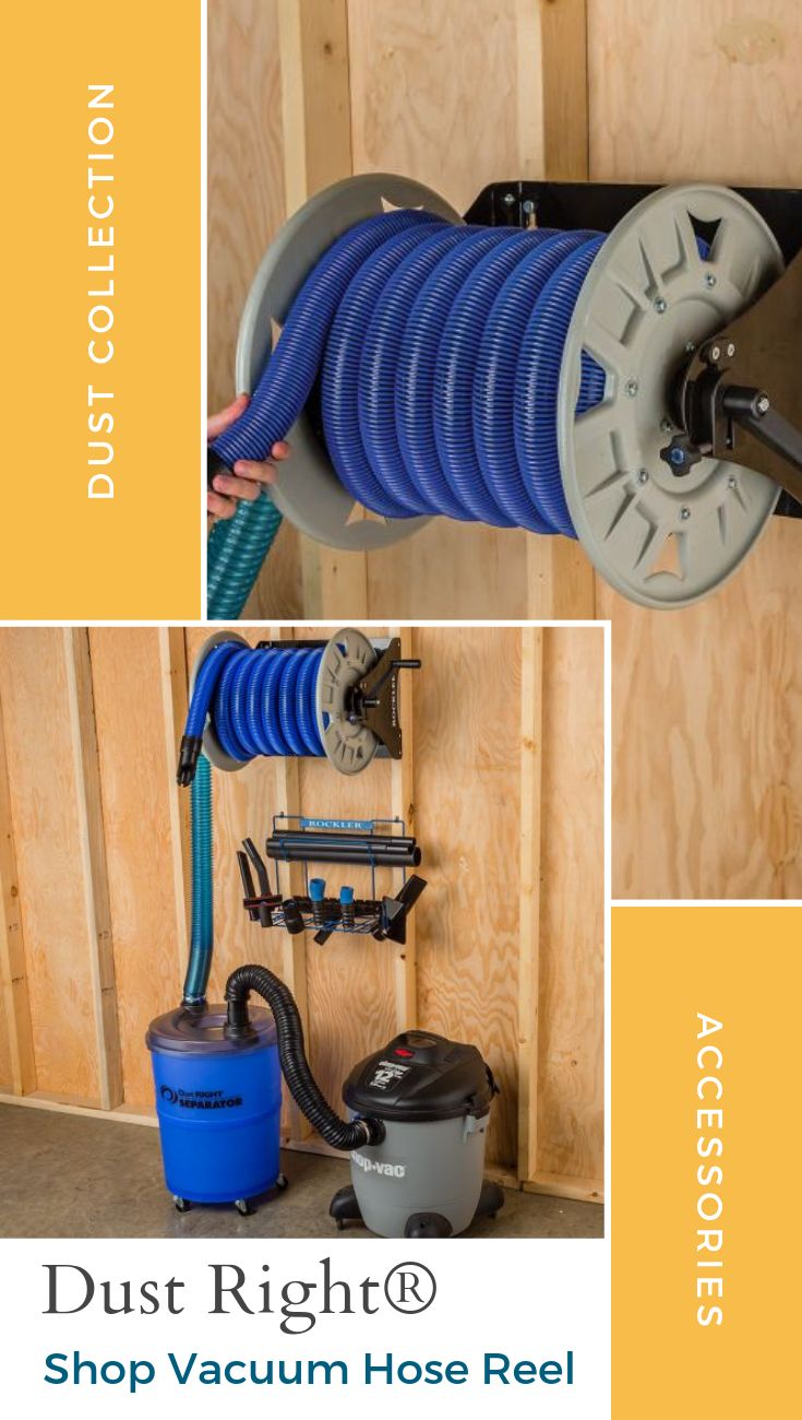 Dust Right® Shop Vacuum Hose Reel – Just pull out the hose to clean up—no need to drag along a clunky shop vacuum. Paired with a hose of sufficient length, our Shop Vacuum Hose Reel brings the benefit of a central vacuum cleaner to your shop.