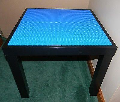 LEGO TABLE   CUSTOM MADE   Black With BLUE Lego Base Plates