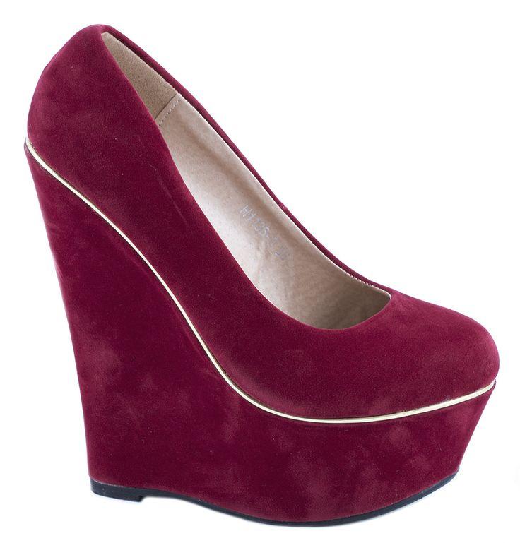 Pantofi cu platforma - Pantofi rosii cu platforma H1136-3R - Zibra