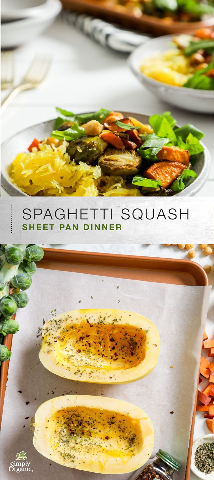 """Make an all-vegetable """"spaghetti primavera"""" dinner on a single sheet pan with this recipe featuring spaghetti squash, roasted veggies and arugula, uniquely seasoned with herbs, crushed red pepper and a generous sprinkling of fresh lemon."""
