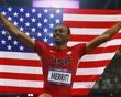 Aries Merritt of the U.S. celebrates after winning gold in the men's 110m hurdles final during the London 2012 Olympics Games at the Olympic Stadium