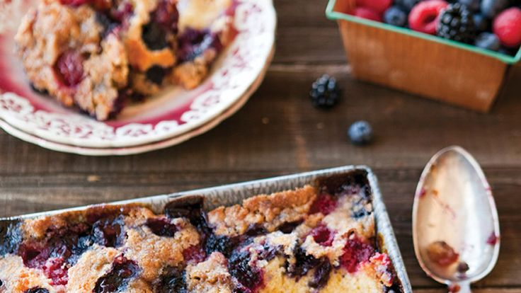 Berry Long Cake with Ginger Crumb. This berry cake first appeared in a Betty Crocker ad in 1945.