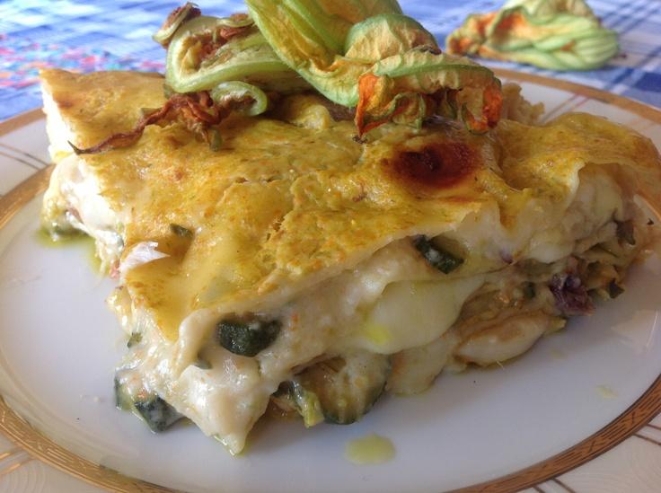Lasagne con zucchine, fiori di zucchine e pesce spada. #zucchine #lasagne #pastafresca #fiori di zucca #pescespada #pesce #sicilianfood #sicilia #sicily #italianfood