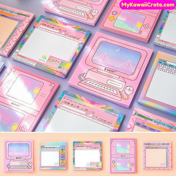 50 Pages Kawaii Computer Style Memo Pad ~ Cute Notepad, Scrapbook Paper, Planner Journal Pink Notebook Notes, School Supplies, Office Notes