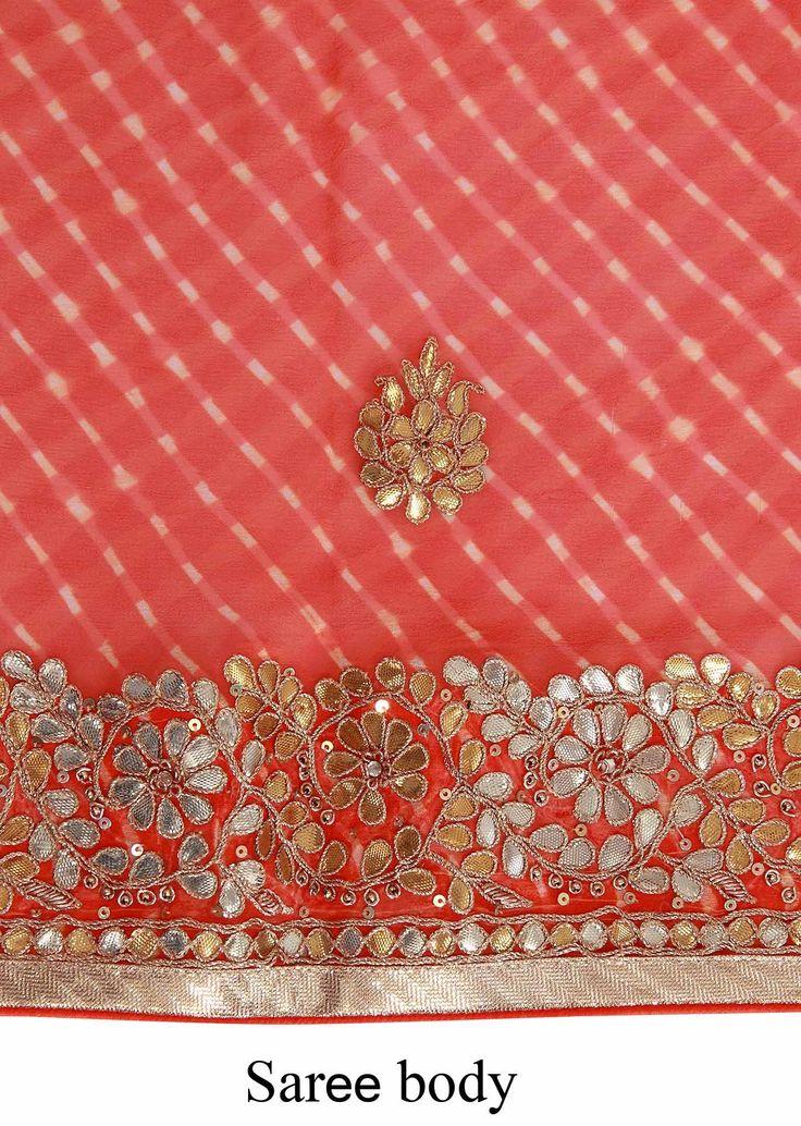 Orange leheriya saree adorn in gotta patch border only on Kalki