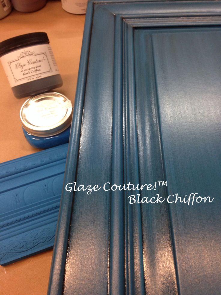 Blue cabinets Paint Couture!(TM) Lake Norman Signature Blue, glazed!