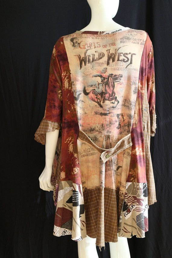 Lagenlook tunic Boho clothes Upcycled t shirt loose fit ...