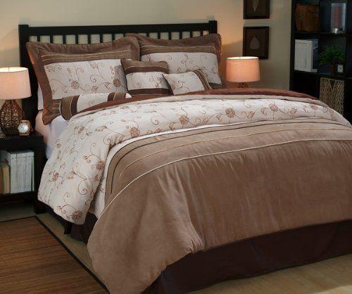 nanshing america duena microsuede 7piece comforter set king by nanshing america brown and saddle color combination