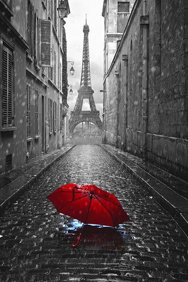 Tableau tour Eiffel parapluie rouge