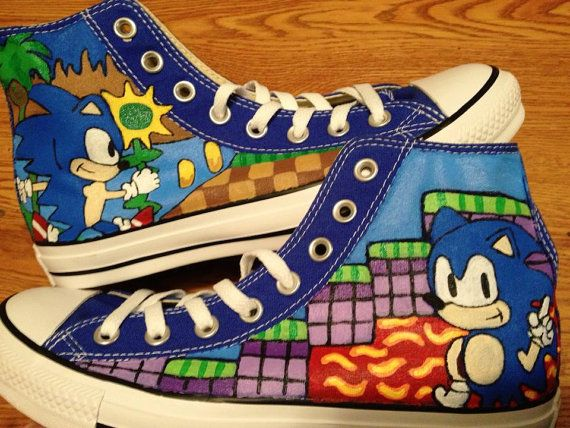 Sonic Hand Painted Converse Shoes by CandysCustomPaints on Etsy, $100.00