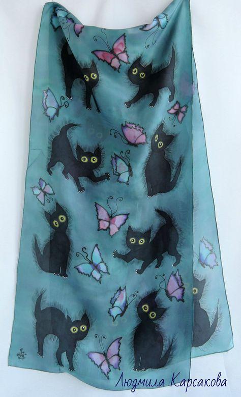 """Купить Батик шарф""""Котята"""" - комбинированный, рисунок, шарф с котятами, кошачья тема, черные котята"""