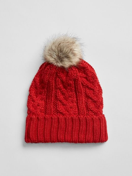 d207c1d28547ec Gap Girls Cable-Knit Pom Beanie Modern Red | Products | Knitted hats ...