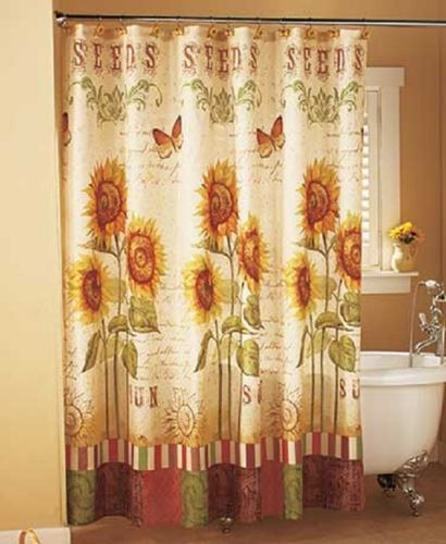 Shower Curtain & Hooks Sunflower Butterfly Country Cottage Bathroom Yellow NEW