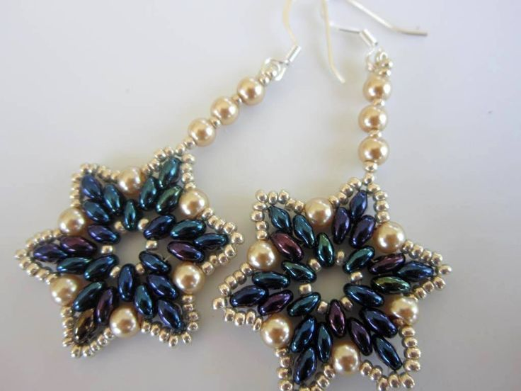 Beaded Earrings Twin Beads glass Pearl Seed Beads. Серьги бисер дуо жемчуг