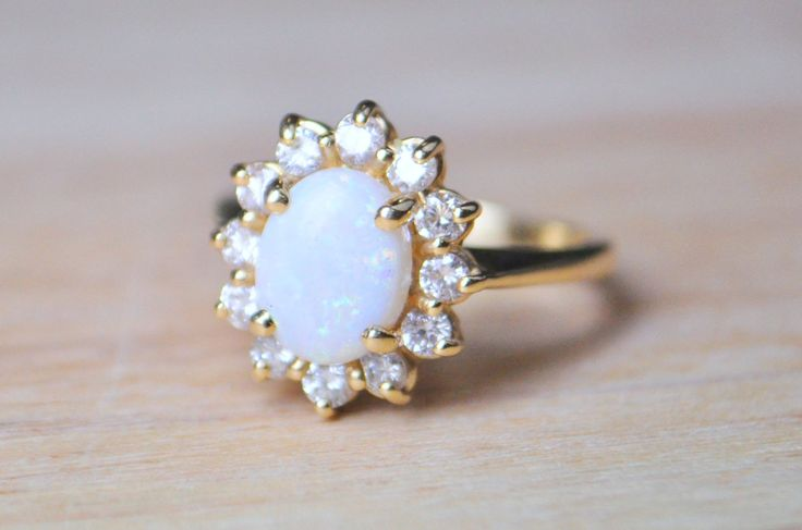 Vintage White Opal & Diamond Cluster Ring in 14K by GandDJewelers, $975.00