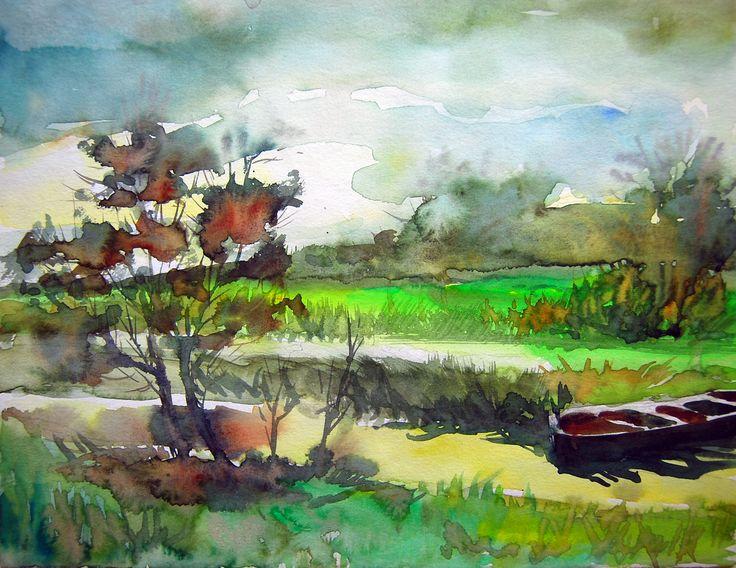 Sunken Boat in Amasya TURKEY  watercolor on paper Canson 24cmx35cm