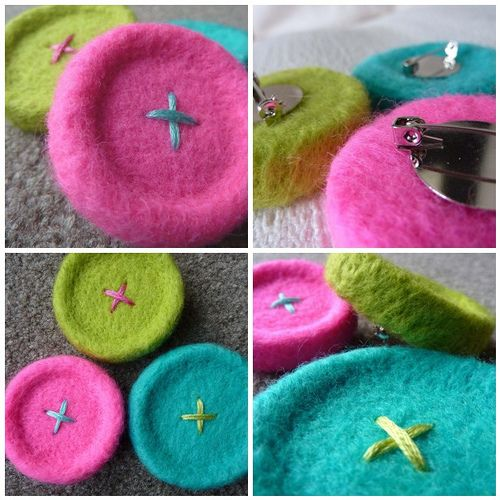 Needle Felted Button Brooches by the beauty is in the detail . . ., via Flickr