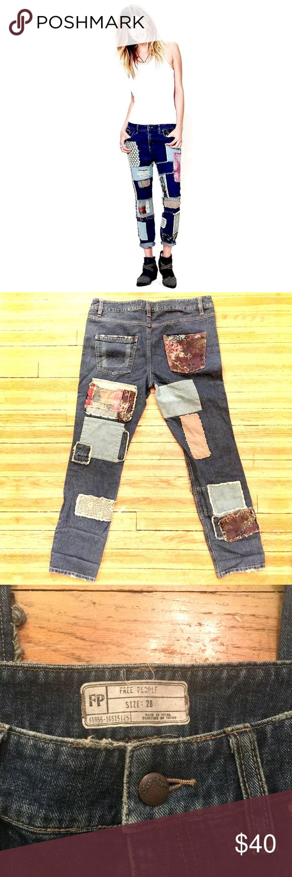 Free People Patchwork Slim Slouch Jeans Vintage Free People patch slim slouch jeans.  These are in great shape, as they never fit me right.  They are made to fit slouchy. Free People Jeans