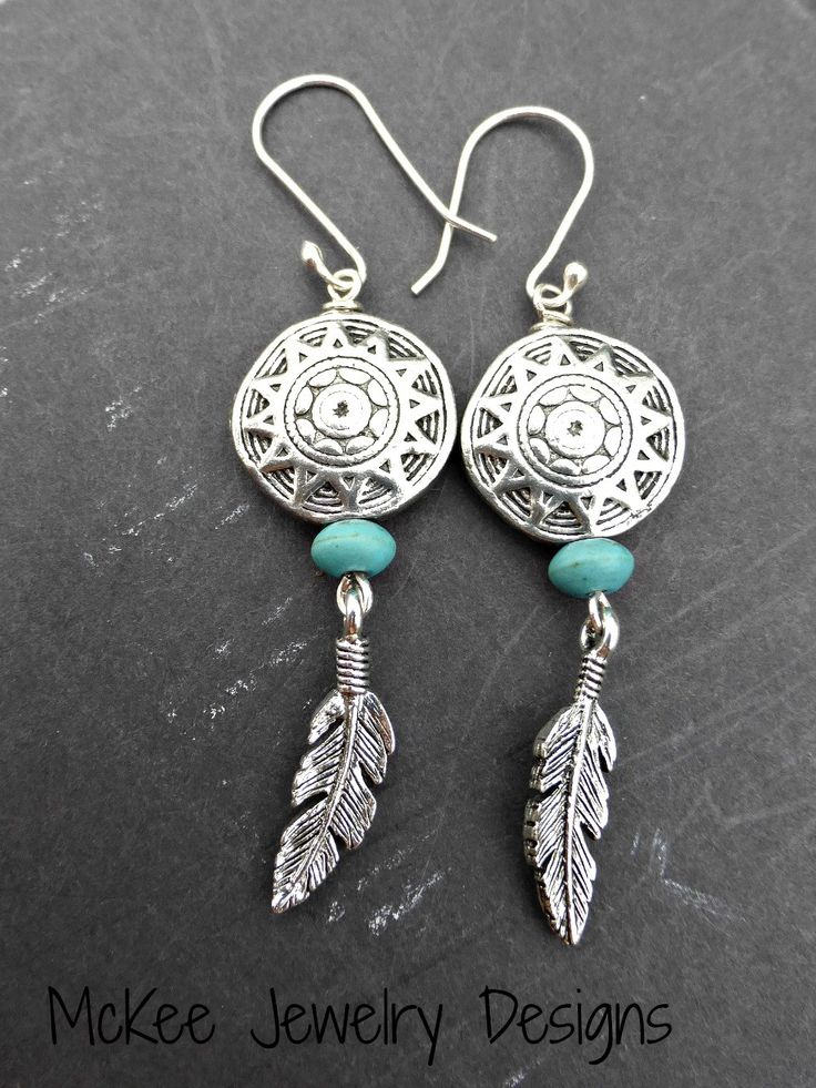 Indian basket charms. Stone, feather charms and sterling silver earrings.