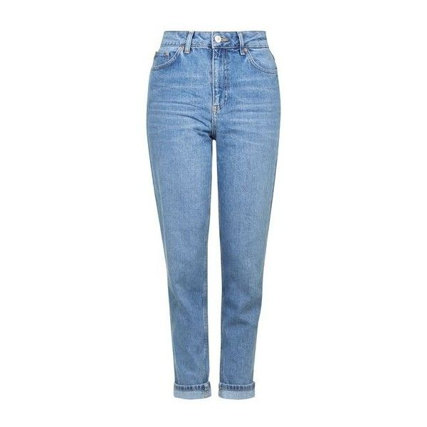 TopShop Moto Mid-Blue Mom Jeans ($58) ❤ liked on Polyvore featuring jeans, mid stone, folded jeans, cuff jeans, high rise jeans, cuffed jeans and tapered leg jeans