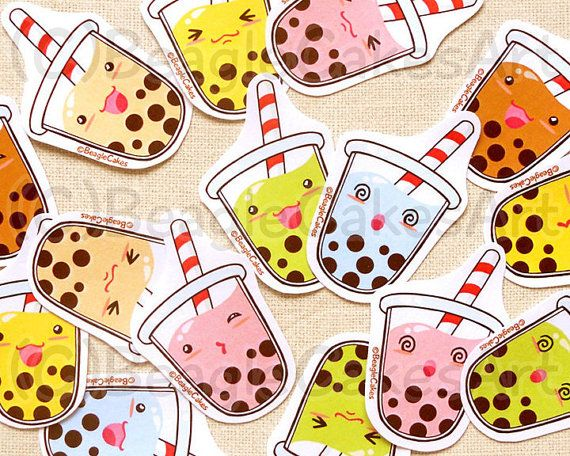 Cute Tapioca Bubble Tea Stickers: Kawaii Food by BeagleCakesArt