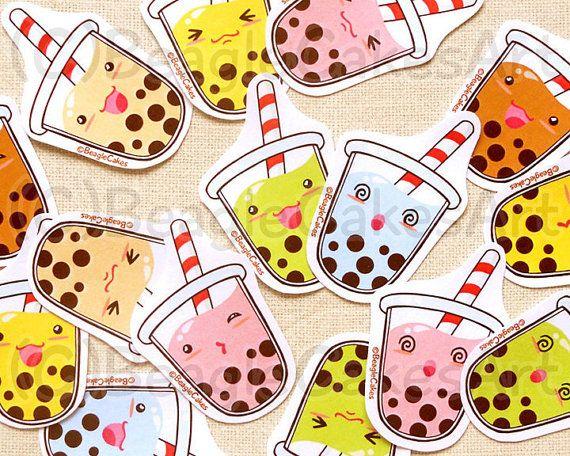 Cute Tapioca Bubble Tea Stickers: Kawaii Food by BeagleCakesArt