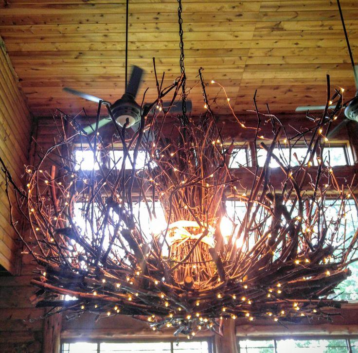 Allegheny - 5 Light-- Rustic Twig Chandelier - Grapevine Chandelier - Twig Chandelier - Branch Chandelier - 300 Fairy Lights by CraftyGeminiCreation on Etsy https://www.etsy.com/listing/215247946/allegheny-5-light-rustic-twig-chandelier