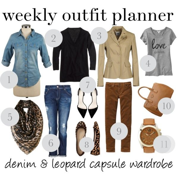 """""""9.23 weekly outfit planner: denim & leopard capsule wardrobe"""" by franticbutfabulous on Polyvore"""