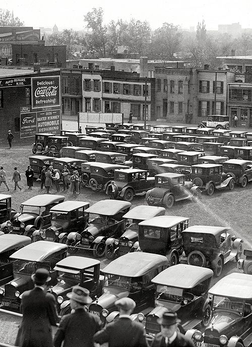 April 26, 1923. Washington, D.C. Automobiles at ballpark, opening game, Nationals-Athletics.