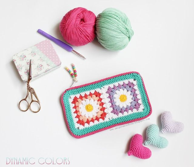 Granny Square crochet wallet