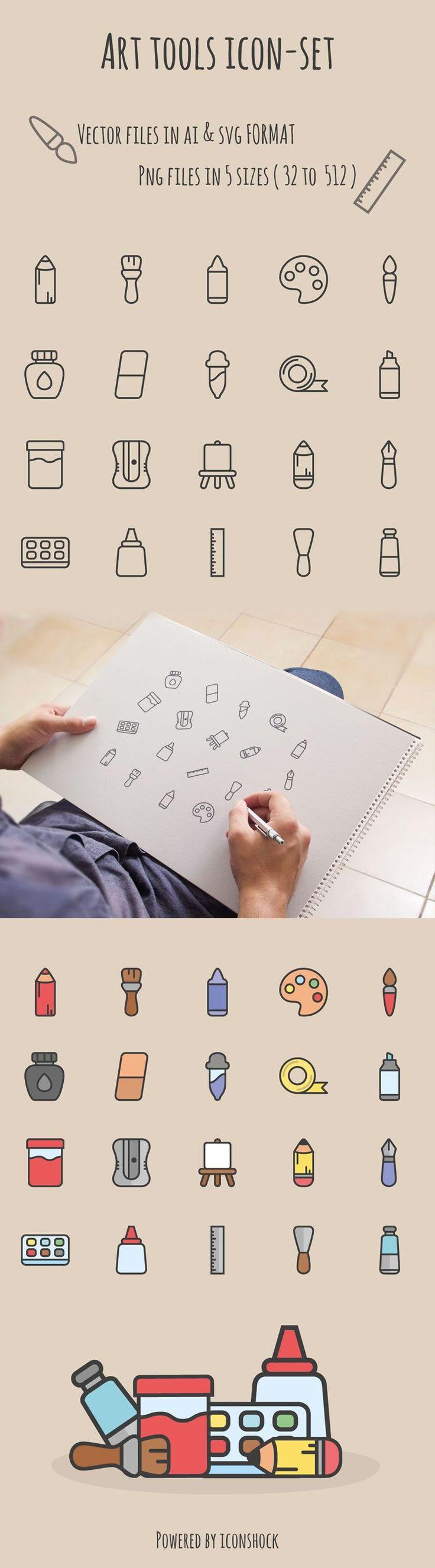 freebie art tools icon set free ai svg illustrator screenshot