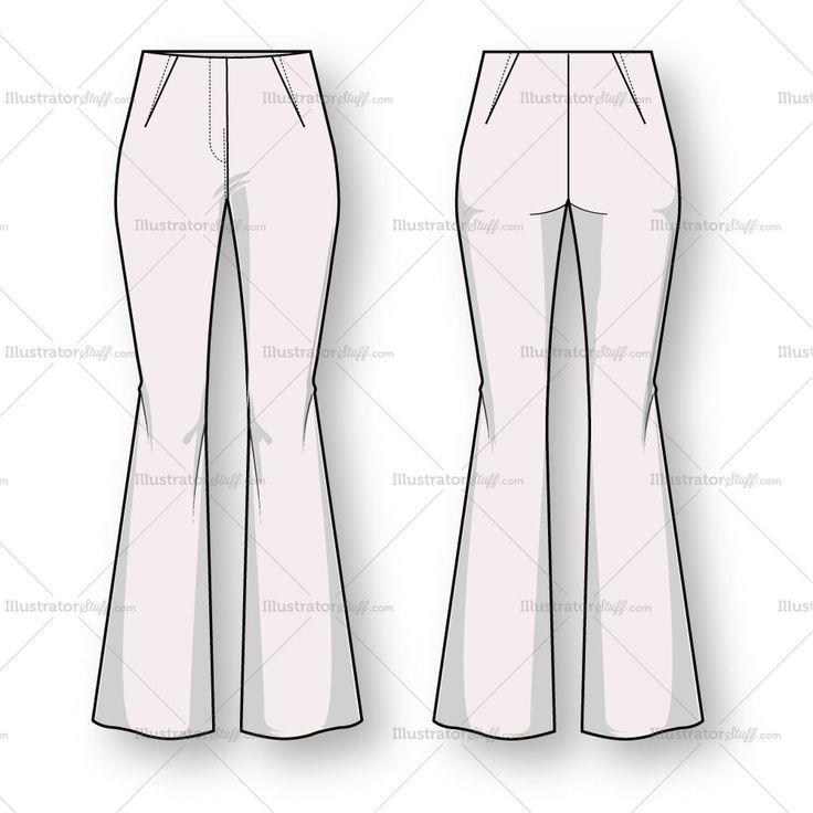 Womenu0026#39;s Bootcut Trouser Pant Fashion Flat Template | Hour Glass | Pinterest | Fashion Flats ...