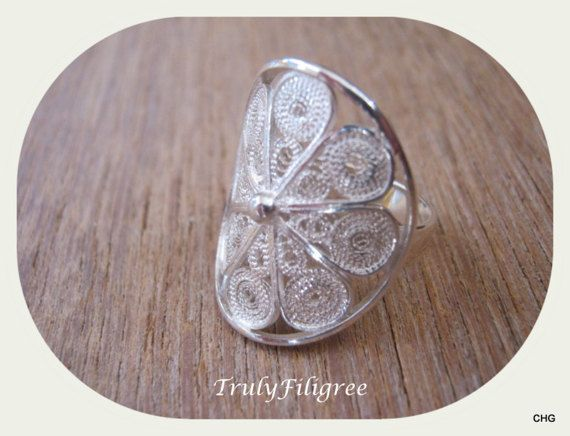 Handmade Sterling Silver Filigree Rosetta Ring by TrulyFiligree
