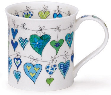 Dunoon - Fine Bone China Mugs - Bute Shape : Heartstrings Blue