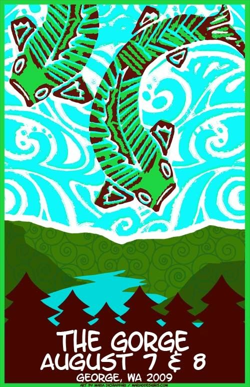 Original concert lot poster for Phish at The Gorge in George, WA 2009. 11 x 17 on cardstock. Art by Maria DiChiappari. Made with love!!