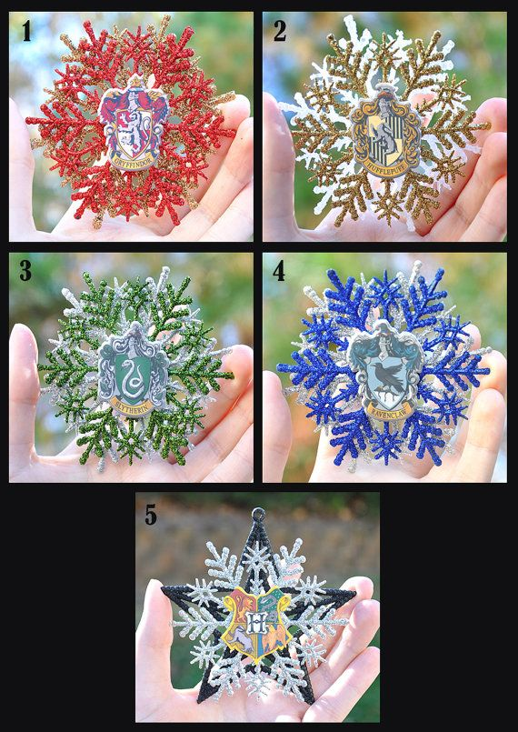 Hogwarts House Crests Christmas Ornaments - Harry Potter - Gryffindor, Hufflepuff, Slytherin, Ravenclaw, Hogwarts School