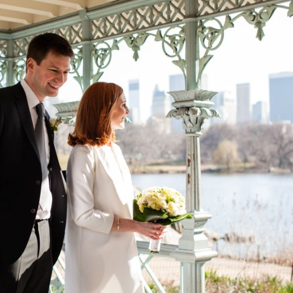 couple in Ladies' Pavilion overlooking the Lake in Central Park