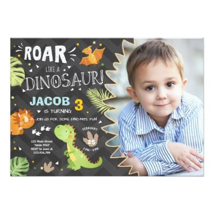 Roar Dinosaur birthday invitation Din Party Boy - invitations personalize custom special event invitation idea style party card cards